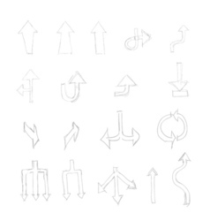 set of hand drawn universal isolated arrows vector image