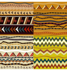 Set of seamless patterns in African style vector image