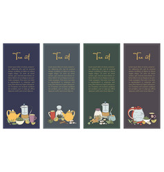 Set with tea flyer collection of vertical banner vector