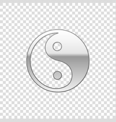 silver yin yang symbol of harmony and balanc vector image