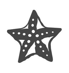 simple monochrome starfish icon flat vector image