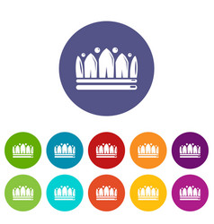 Snow crown icons set color vector