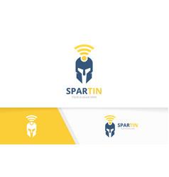 Spartan and wifi logo combination helmet vector