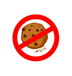 stop cookies it is forbidden to eat crumbs red vector image