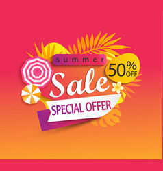 Summer sale special offer banner vector