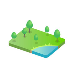 tree on green field and pond vector image