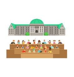 university building and classroom with students vector image