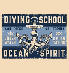 Vintage diving school horizontal poster vector