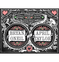 Vintage Wedding Invite on Blackboard vector image
