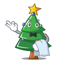 Waiter christmas tree character cartoon vector