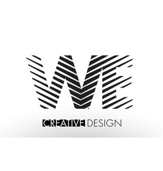 we w e lines letter design with creative elegant vector image