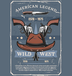 wild west sheriff or western cowboy guns and hat vector image
