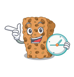 With clock granola bar character cartoon vector