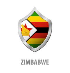 zimbabwe flag on metal shiny shield vector image