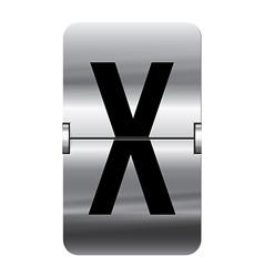 Alphabet silver flipboard letters x vector image vector image