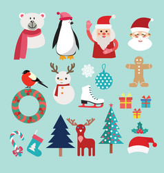 christmas set with santa claus snowman reindeer vector image