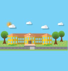 Flat design of school building in flat design vector image vector image