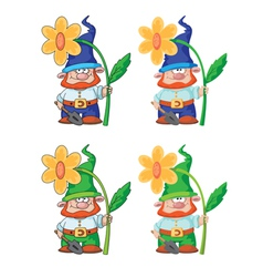 gnome and flower vector image