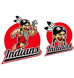 native indian hold an axe vector image