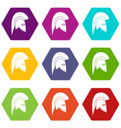 roman helmet icon set color hexahedron vector image vector image