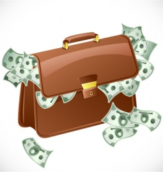 suitcase with money vector image vector image