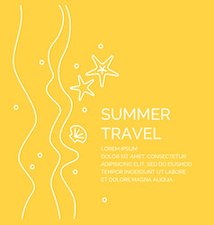 summer travel poster in a linear style vector image