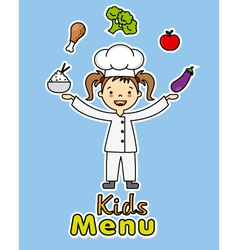 girl chef with healthy food vector image vector image