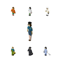 Isometric person set of detective plumber vector