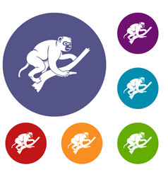 Monkey is climbing up on a tree icons set vector