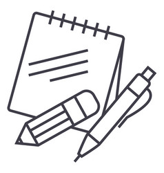 notes with pen and pencil line icon sign vector image