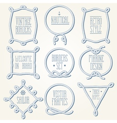 Rope borders thick set 2 vector