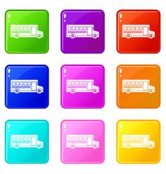 school bus icons 9 set vector image vector image