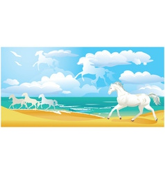 Sea side landscape with horses and clouds vector