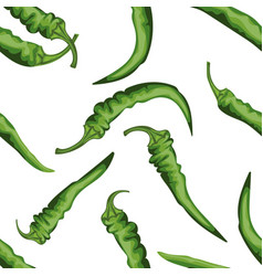 seamless chile pepper pattern tile green vector image