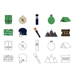 Set of flat adventure traveling icons Camping vector image vector image