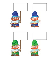 gnome with blank sign vector image vector image