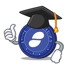 Graduation status coin character cartoon vector