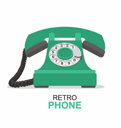 green vintage telephone isolated on white vector image