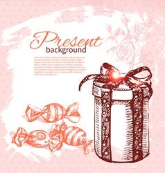 Hand drawn vintage present background vector image vector image