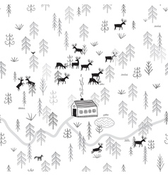 house in winter forest with deers vector image vector image