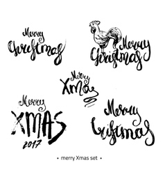Modern hand drawn Merry Christmas 2017 lettering vector image vector image