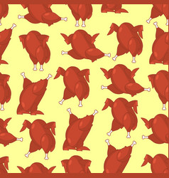 roasted turkey seamless pattern fowl in different vector image