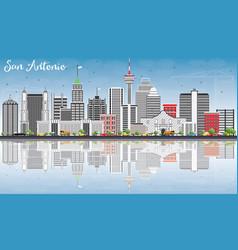 san antonio skyline with gray buildings blue sky vector image vector image