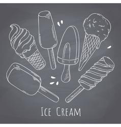 Set of hand drawn different ice cream Food design vector image