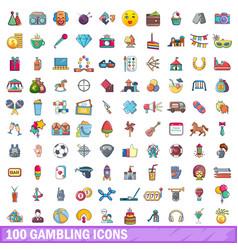 100 gambling icons set cartoon style vector