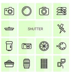 14 shutter icons vector