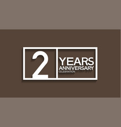 2 years anniversary logotype with white color vector