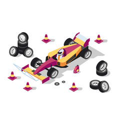 3d isometric sport car at pit stop with wheels vector