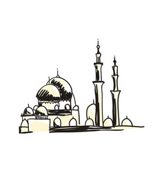 ancient mosque hand drawn icon vector image