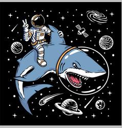 Astronaut riding shark vector